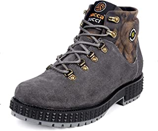 Bacca Bucci® Men's Urban Suede Leather Snow Adjustable Lace up for Work Combat Hiking Motorcycle Military Tactical-Grey