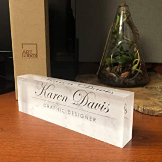 "Artblox Office Desk Name Plate Personalized | Custom Name Plates for Desks on Acrylic Glass Decor | Office Desk Decor Nameplate | Desk Accessories | White Marble Design - (8""x2.5"")"