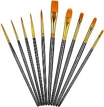 Chiic nailon para pintura acr/ílica Juego de 10 brochas de pintura punta redonda acuarela pintura al /óleo color morado