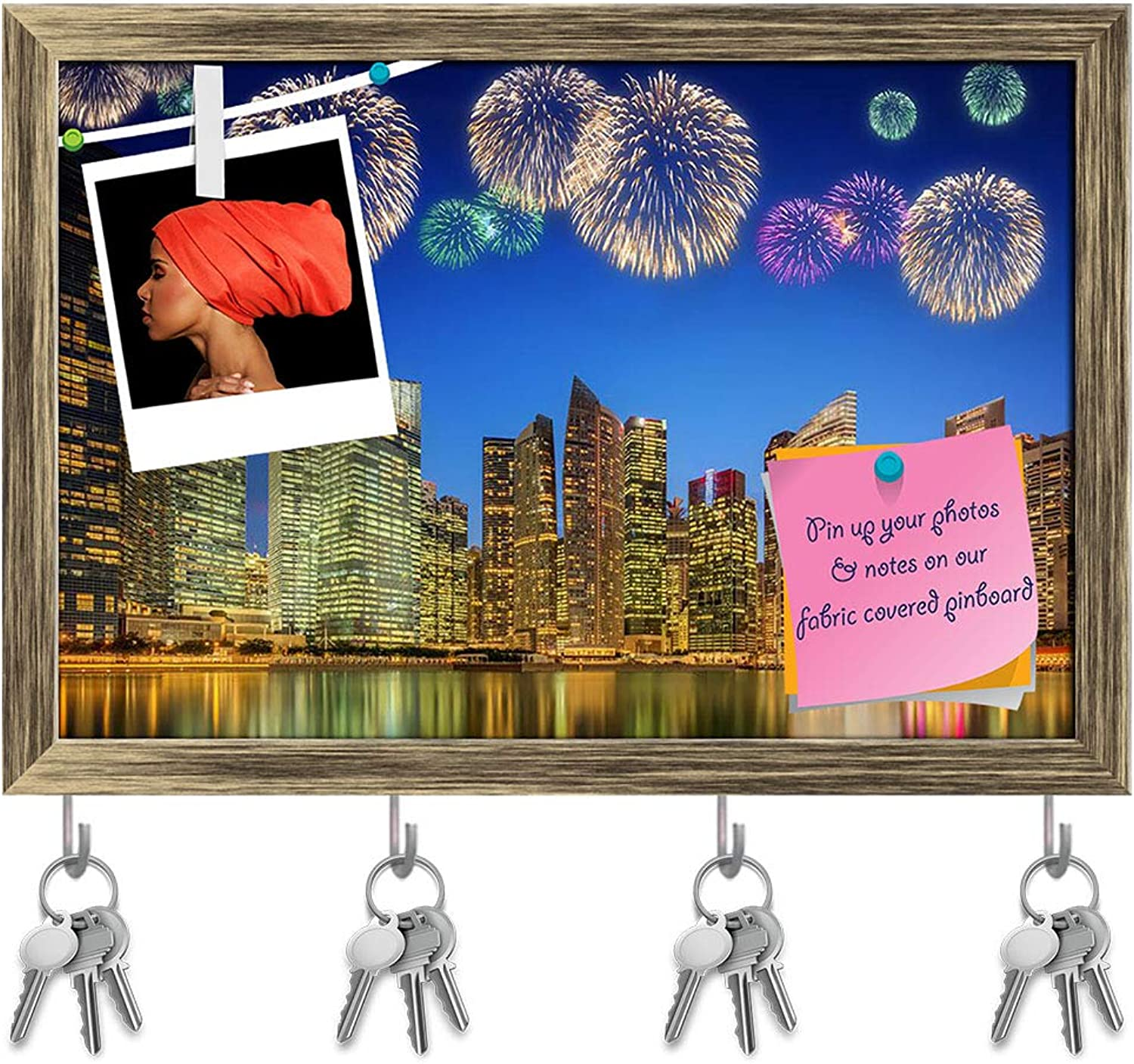 Artzfolio Fireworks in Marina Bay Singapore D3 Key Holder Hooks   Notice Pin Board   Antique golden Frame 17.5 X 12Inch