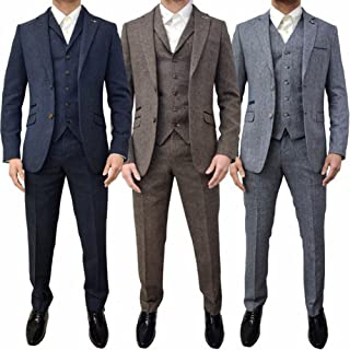Retro 3 Piece Brown Grey Tweed Herringbone Men's Suits Slim Fit Groom Tuxedos Prom Blazer Custom Jacket