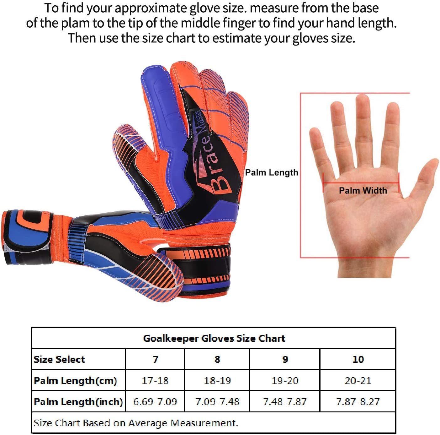 Brace Master Goalie Gloves for Youth & Adult, Goalkeeper Gloves Kids with Finger Support, Soccer Gloves for Men and Women, Junior Keeper Football Gloves for Training and Match : Sports & Outdoors