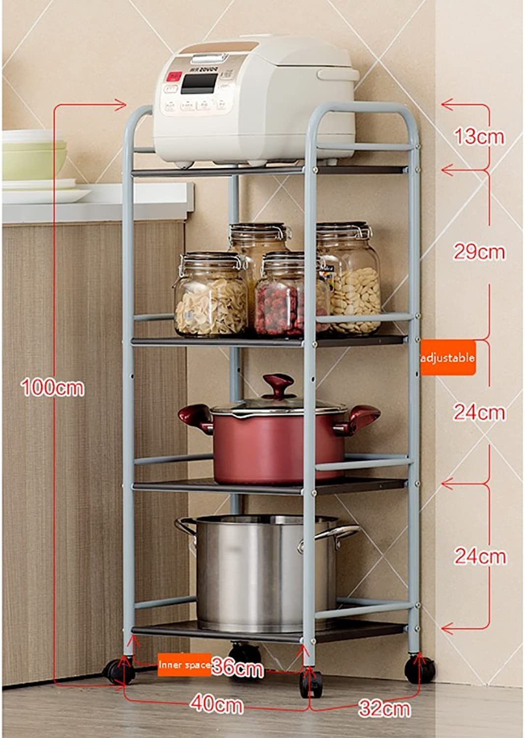 LXLA- Shelves Storage Shelf Microwave Oven Kitchen Can Move