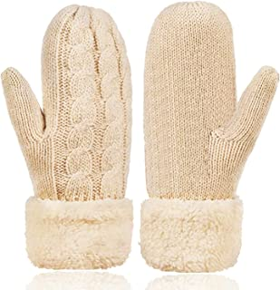 ATIMIGO Womens Winter Gloves Warm Lining Mittens Cozy Kint Thick Wool Mittens Cold Weather Accessories