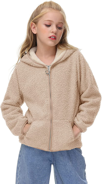 Yobecho Girls Boys Sherpa Fleece Hoodies Jacket Zip Up Warm Fall Winter Outwear Coat