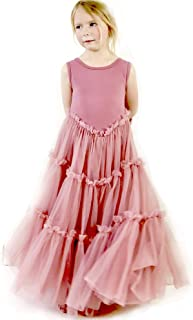 Jennifer and June Girl's Tiered Tulle Twirling Princess Gown. Sizes 2T, 3T, 4T, 5T and 6T.