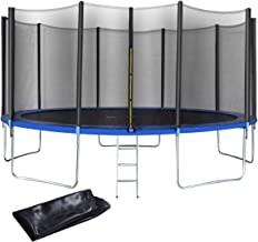 Giantex 12 FT 15 FT Trampoline Combo Bounce Jump Outdoor Trampoline for Family School Entertainment W/Safety Enclosure Net Spring Pad Ladder Rain Cover