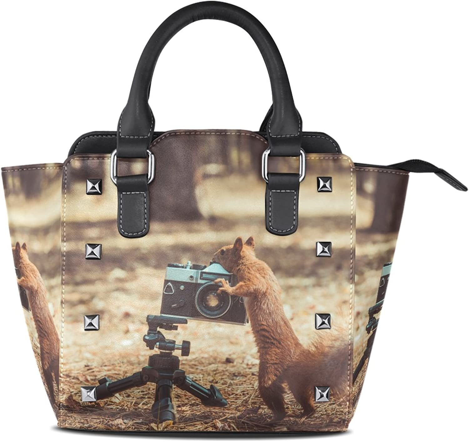 Sunlome Red Squirrel with Film Camera Print Handbags Women's PU Leather Top-Handle Shoulder Bags