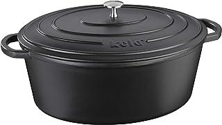 kela Calido - Fuente ovalada (9,50 l), color negro, 9.5 litros, Hierro Fundido