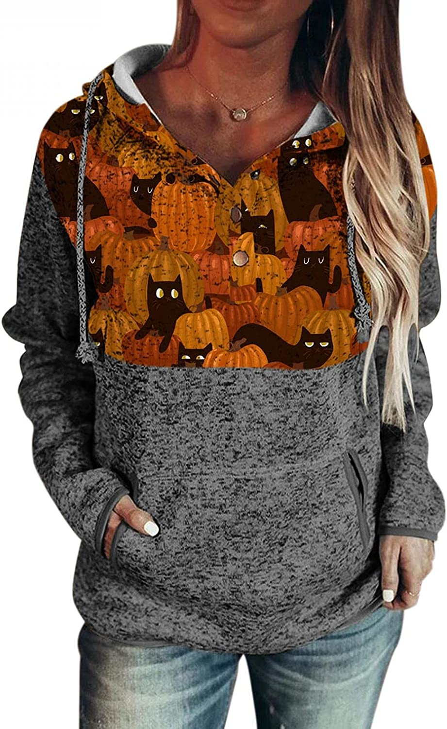AODONG Women Halloween Costumes,Womens Long Sleeve Drawstring Casual Pullover Hoodies with Pocket Hooded Sweatshirt Tops