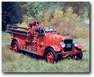 vintage fire truck wall art