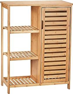 VIAGDO Meuble Salle de Bain en Bambou, Meuble de Rangement avec 1 Porte Persienne et 3 étagères Ouvertes, Buffet, Armoire,...