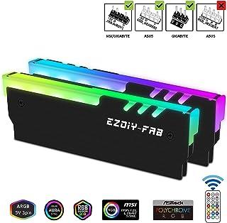 EZDIY-FAB RGB Addressable Memory RAM Cooler DDR Heatsink with Controller for DIY PC Game MOD DDR3 DDR4 -Black-2 Pack