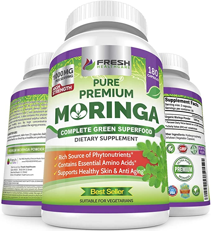 Amazon Com Moringa Oleifera 180 Capsules 100 Pure Leaf Powder Max 1000mg Per Serving Complete Green Superfood Supplement Full 3 Month Supply Pure Miracle Tree Moringa Super Greens