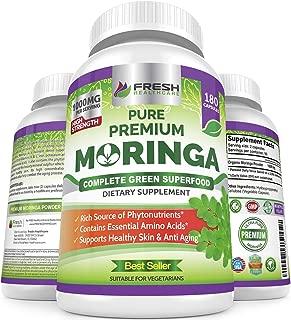 Moringa Oleifera 180 Capsules – 100% Pure Leaf Powder - Max 1000mg Per Serving - Complete Green Superfood Supplement - Full 3 Month Supply - Pure Miracle Tree Moringa Super Greens Powder Vegan Caps