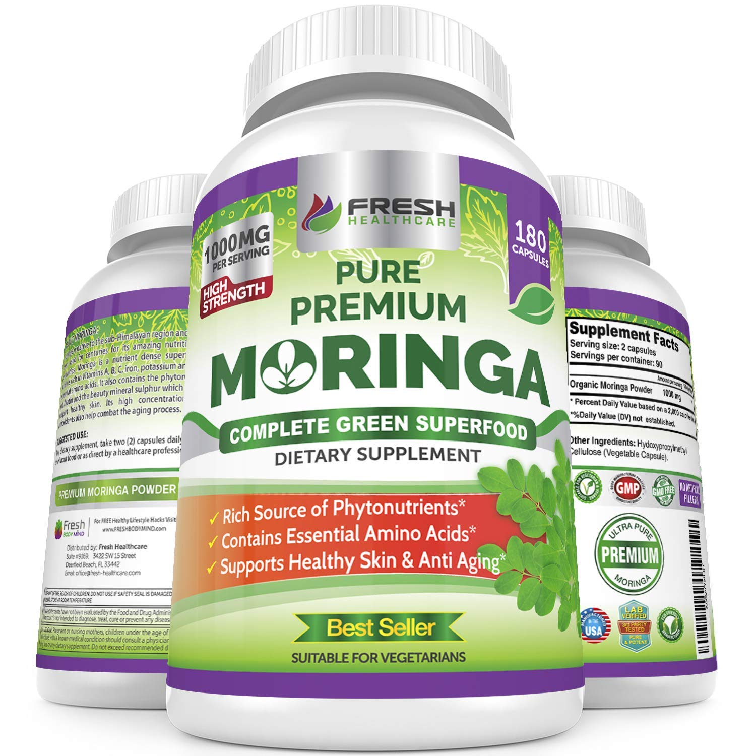 Organic Moringa 180 Capsules Supplement