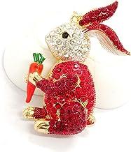 Legering Sleutelhanger Kleur Diamant Cartoon Auto-accessoires Hanger Geschenk rood