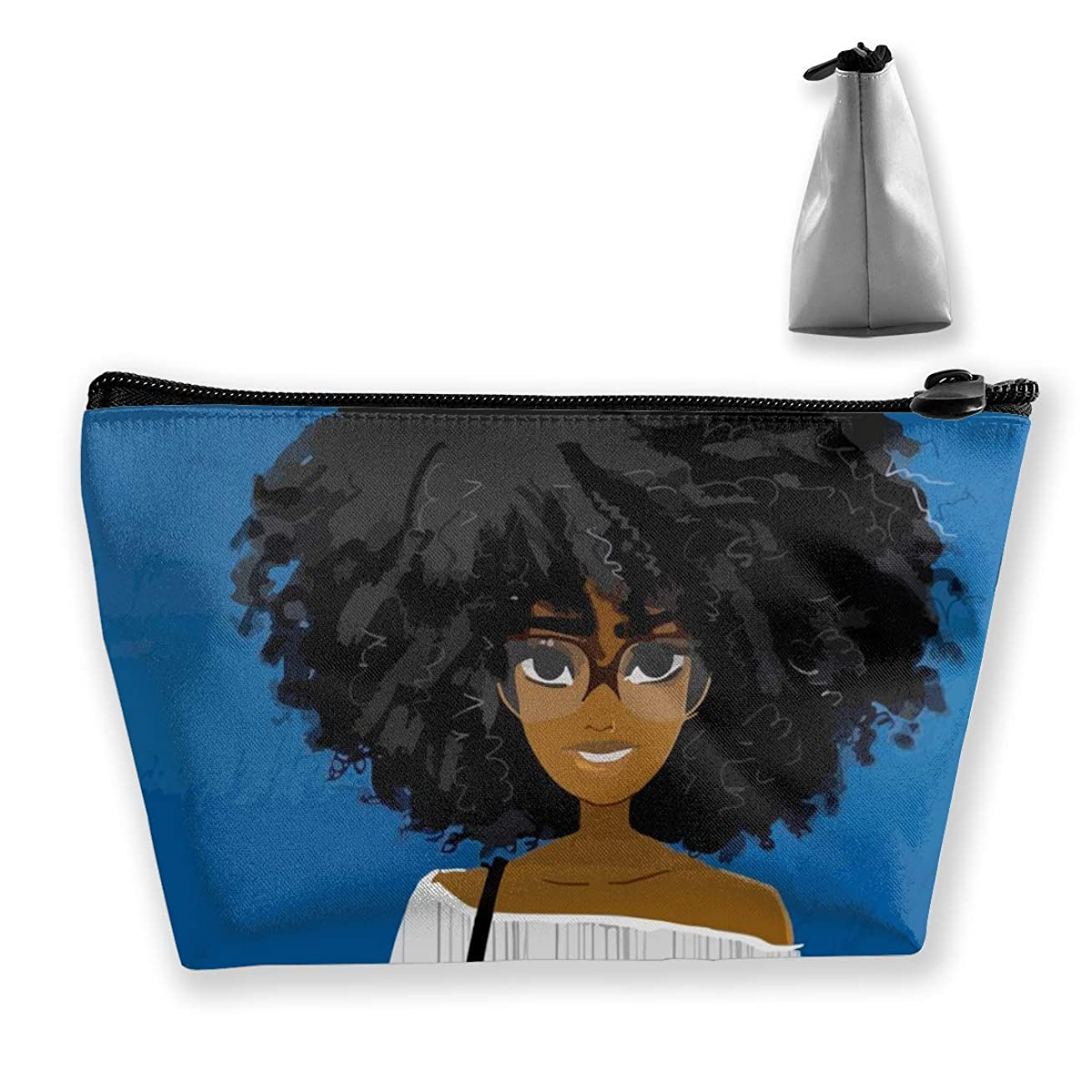 品揃え感動するテクトニックSzsgqkj かわいいアフリカの女の子アフロ髪メガネ青色の背景色 化粧品袋の携帯用旅行構造の袋の洗面用品の主催者