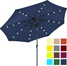 Best Choice Products 10-Foot Solar Powered Aluminum Polyester LED Lighted Patio Umbrella w/Tilt Adjustment and Fade-Resistant Fabric, Navy Blue