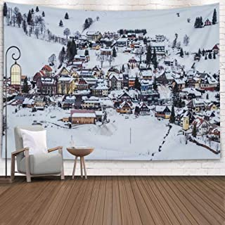 Asdecmoly Wall Tapestry, Printing Tapestries for Living Room Christmas and Fall Bedroom 80 Lx60 W Inches This Town Called Black Winter Popular Sport Lot Art Printing Inhouse for Thanksgiving Day