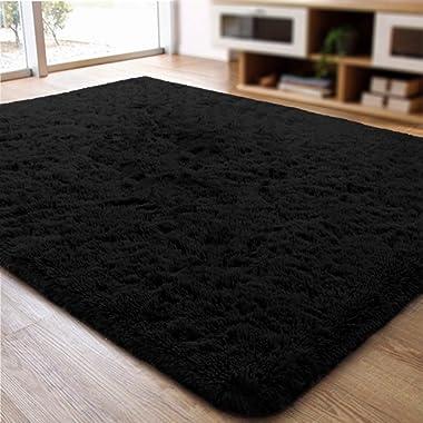 ACTCUT Super Soft Indoor Modern Shag Area Silky Smooth Fur Rugs Fluffy Rugs Anti-Skid Shaggy Area Rug Dining Room Home Bedroom Carpet Floor Mat 4- Feet by 5- Feet (Black)