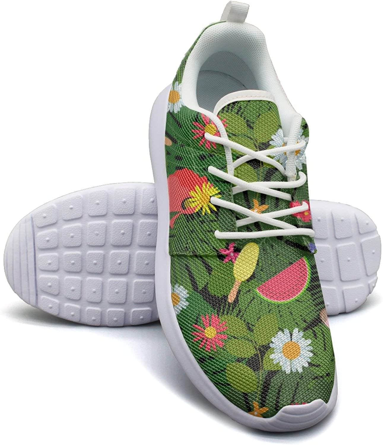 Summer Tropical Flowers Leaves Women's Fashion Sports shoes Retro Mesh Lightweight Athletic Sneakers
