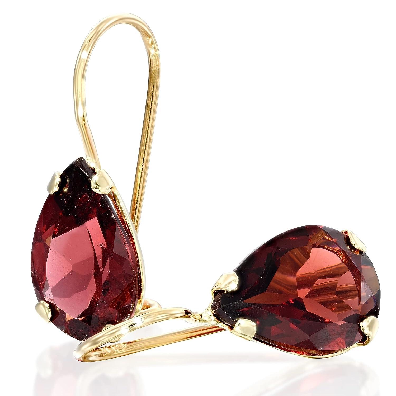14K Gold Red Garnet Earrings - Dangle It is very popular Drop Max 53% OFF Solid Yellow