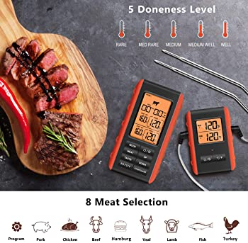 Wireless Meat Thermometer Digital Remote Cooking Thermometer BBQ Food Thermometer with Dual Stainless Steel Probes fo...