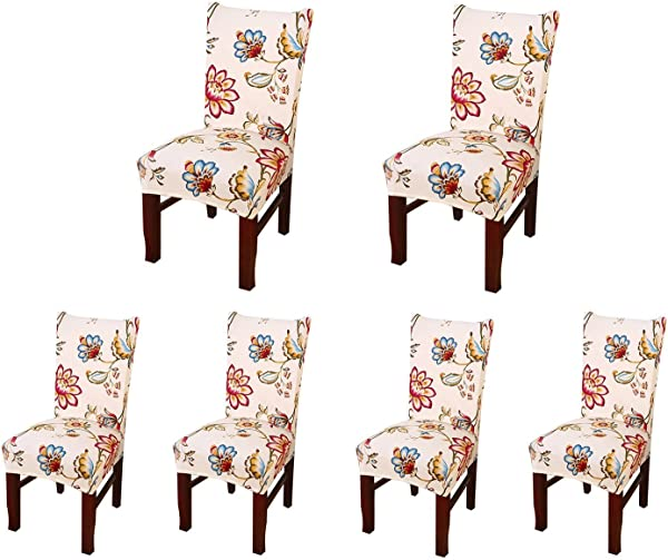 SoulFeel Set Of 6 X Stretchable Dining Chair Covers Spandex Chair Seat Protector Slipcovers For Holiday Banquet Home Party Hotel Wedding Ceremony Style 34 Floral