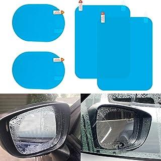 LivTee Car Rearview Mirror Side Windows Rainproof Film, HD Anti Fog Nano Coating Car Films, 2PCS Side Windows Film + 2PCS Oval Mirror Film