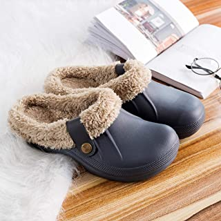 ⭐ Futurelove ⭐ Unisex Clog Slippers Fluffy Fleece Lined Winter Indoor Outdoor Non-Slip House Home Slip on Shoes 2019 Waterproof Garden Clog Slippers Warm Shoes Mule Slides for Women Men