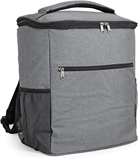 AVAFORT Insulated Cooler Backpack, Leakproof Soft Cooler for Lunch, Picnic, Hiking, Beach, Park, Soft-Sided Cooling Bag for Picnic, Beach, Camping, Hiking, 24Can (Grey)