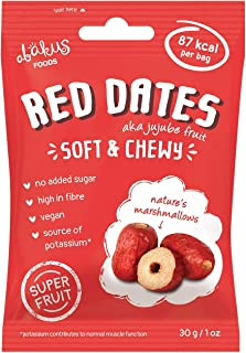 Abakus Foods Red Dates - Soft & Chewy Jujube Fruit 30g (Pack of 12) Vegan, Gluten-Free and High in Fibre