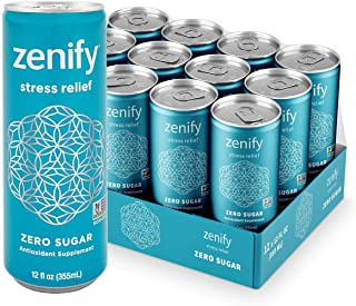 Zenify Zero Sugar All Natural Sparkling Calming Stress Relief Beverage, Formula with L-Theanine, GABA, Vitamin B6, and Gly...