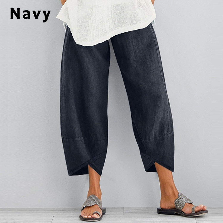 Xiakolaka Women's Linen Pants Casual Elastic Waist Wide Leg Loose Printed Cropped Pants Lounge Trousers with Pocket
