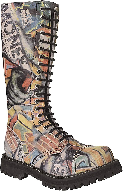 Steel Combat Boots Unisex Men's Ladies Leather Graffiti 20 Eyelets Army Punk Toe Cap