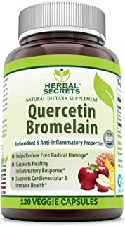 Herbal Secrets Quercetin 800 Mg with Bromelain 165 Mg, 120 Veggie Capsules (Non-GMO) - Supports Cardiovascular & Immune He...