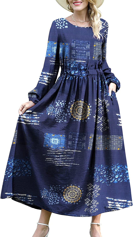 YESNO Long Sleeve Dress for Women Casual Boho Floral Drawstring Waist Maxi Dress with Pockets ED6