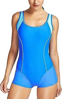 Delimira Women's Athletic Sport One Piece Boy-Leg Swimsuits
