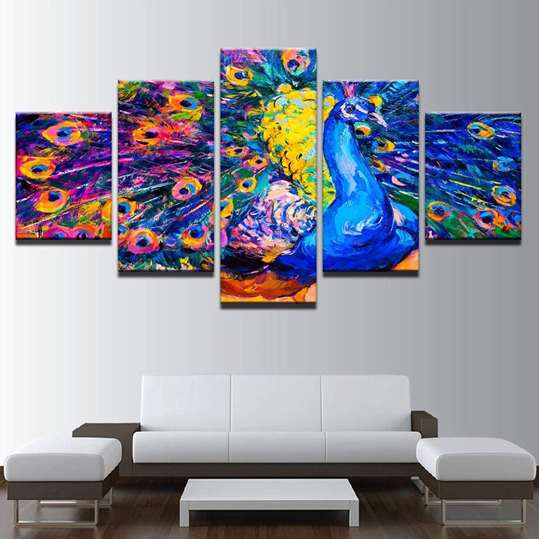 QIFUHUA Arte de la Parojo HD Imprime imágenes 5 Piezas Pintura Abstracta de la Lona del Pavo Real Modular Living Room Decor Animal Peafowl Marco del Cartel, Marco, 20x35 20x45 20x55cm