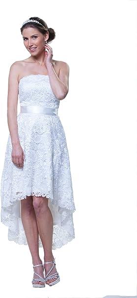 Brautkleid Standesamtkleid Spitze Vorne Kurz Hinten Lang Vokuhila Ivory 34 Amazon De Bekleidung