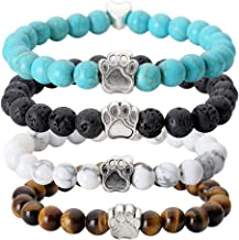 Jovivi Vintage Lava Stone Healing Power Crystal Dog Paw Charm Elastic Stretch Beaded Bracelets