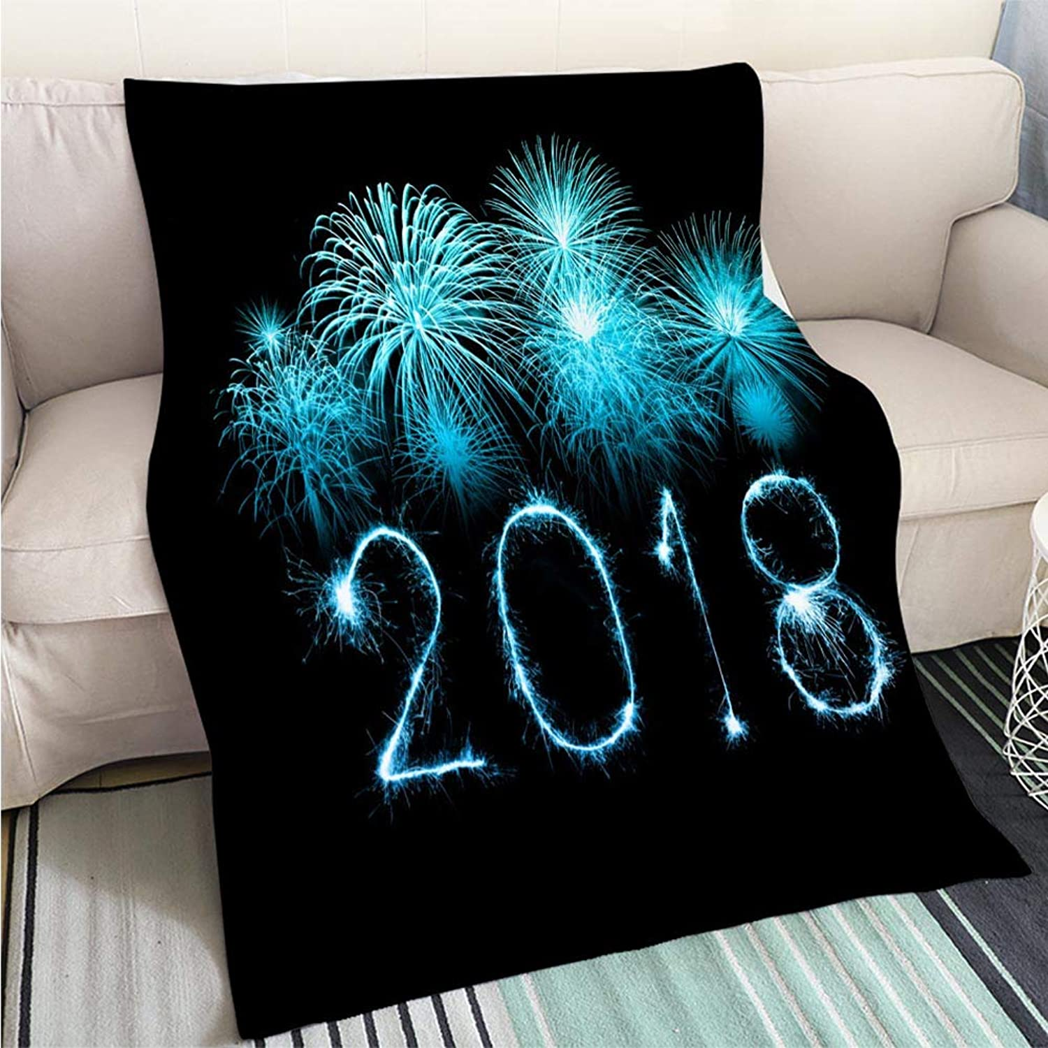 Home Digital Printing Thicken Blanket Happy New Year 2018 with Sparkle Firework at Night Perfect for Couch Sofa or Bed Cool Quilt