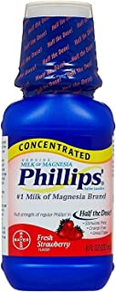 Phillips' Milk of Magnesia Concentrated Liquid Fresh Strawberry Flavor - 8.0 oz, Pack of 6