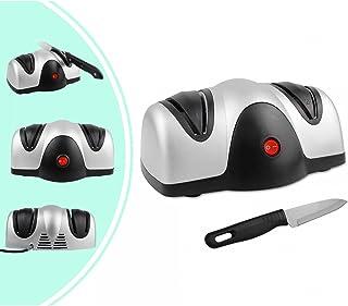 Leogreen - Afilador de Cuchillos Eléctrico, Afilador de Cuchillas de Dos Niveles, Negro/Plateado, Material: Plástico ABS