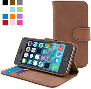 iPhone 4 Case, Snugg Distressed Brown Leather Flip Case [Card Slots] Executive Apple iPhone 4 Wallet Case Cover and Stand - Legacy Series