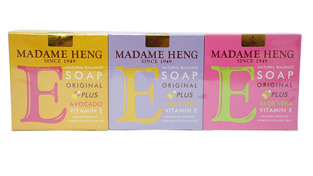 理容師合法不名誉Madame Heng Vitamin E Soap 3 boxes- Aloe Vera +Vit E, Grape Seeds +Vit E, Avocado +Vit E Soap [並行輸入品]