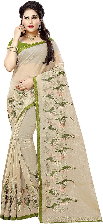 Da Facioun Indian Sarees for Women Designer Party Wear Traditional Cream Sari.