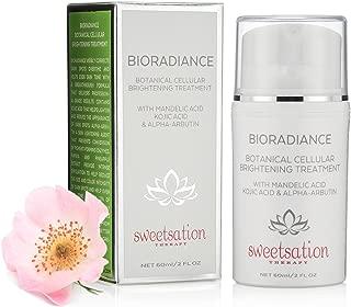 BioRadiance Botanical Cellular Brightening Treatment for Brown Spot Correction, Sun Damage Unevenness, with Mandelic, Kojic, Hyaluronic acids, Niacinamide, Alpha-Arbutin, Vitamins, Pearl Essence 2oz