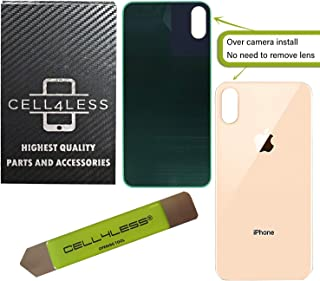 CELL4LESS Back Glass Replacement Compatible w/The iPhone Xs MAX Including Wide Camera Hole, Adhesive & Removal Tool (Gold)